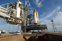 A view Space Shuttle Atlantis on Launch Pad 39A at