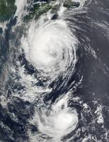 Two Typhoon systems approaching the Far East