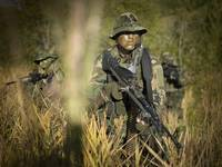 U.S. Navy SEALs walk through tall grass during com