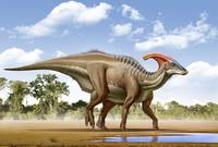 A Parasaurolophus searches for a source of water
