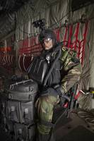 U.S. Navy Seal combat diver prepares for HALO jump