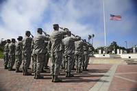Members of the 30th Space Wing perform a retreat c