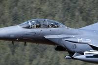 F-15E Strike Eagle low flying over Wales, United K