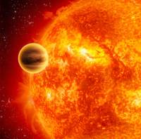 A gasgiant exoplanet transiting across the face of