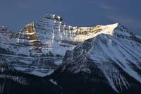 Peak of Mount Temple in Banff National Park of the