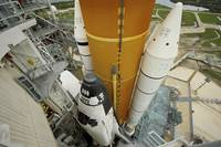 Space shuttle Atlantis on the launch pad at Kenned