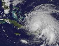 Satellite view of Hurricane Irene approaching the