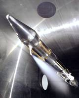 Vent flowing cryogenic fuel on a Centaur rocket en