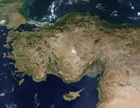 Satellite view of Turkey and the island of Cyprus