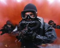Navy divers on a training reconnaissance exercise
