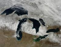 Satellite view of snow across Wisonsin, Michigan a