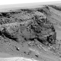 A cliff on the surface of Mars