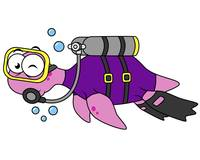 Illustration of a Loch Ness Monster scuba diver