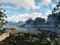 Sauroposeidon graze while feathered Deinonychus lo