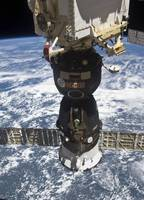 The Soyuz TMA 19 spacecraft docked to the Rassvet