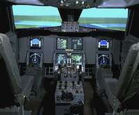 Interior view of an aircraft flight simulator
