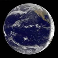 Satellite image of Earth centered over the Pacific