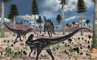 A pair of Allosaurus dinosaurs confront a lone Ste