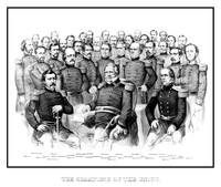 American Civil War print featuring a group portrai