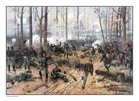 This Civil War painting shows Union and Confederat