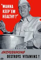 Vintage World War II poster of an army cook servin