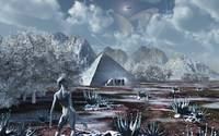 An extraterrestrial surveys an ancient structure o