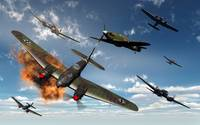 British Hawker Hurricane aircraft attack a German