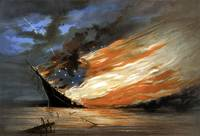 Vintage Civil War painting of a warship burning in