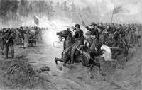 Civil War print of Union cavalry soldiers charging