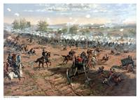 Vintage Civil War print of the Battle of Gettysbur