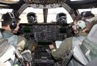 The cockpit view of a B-1 Lancer while the crew co