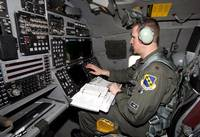 The view of the aft cockpit in a B-1 Lancer