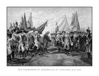 Vintage Revolutionary War print showing the surren