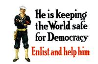 Vintage World War I poster of a sailor standing wi