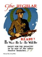 Vintage World War I poster of an American infantry