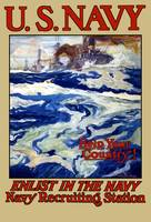 Vintage World War I poster of battleships at sea