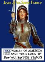 Vintage World War I poster of Joan of Arc wearing