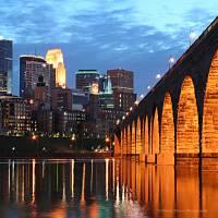"""Minneapolis Skyline Photography Stone Arch Bridge"" by WaynePhotoGuy"
