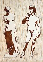 Venus De Milo And David Statues Original Dark Beer