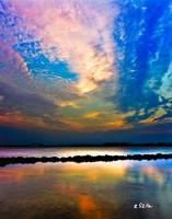Pink Clouds Twilight Sky Water Refection Art Print