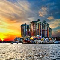 """Sea Sunset Destin Emerald Grande Harbor Walk Art"" by eszra"