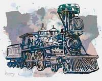 Classical Steam Train Stylized Pop Art Poster