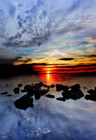 Red Sunset Landscape Blue Sea Cloud Reflection Art