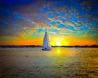 Destin Sunset Sailing East Pass-Sailboat Art Print