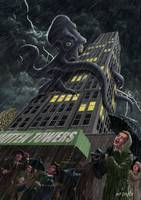 Monster Octopus attacking building in storm