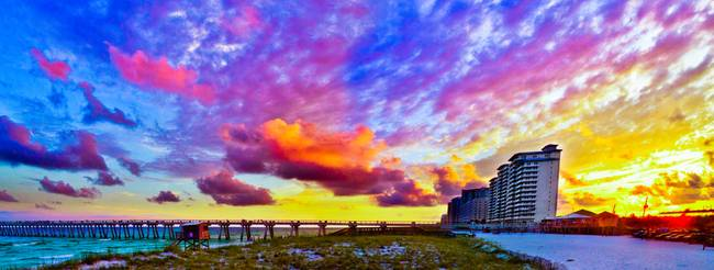 Navarre Beach Fishing Pier Sunset Panorama Art By Eszra 2017
