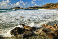Surf breaking over the reef, Coralita, St. Martin,