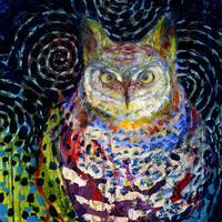 Owl Under a Starry Night