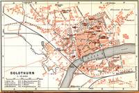Vintage Map of Solothurn Switzerland (1913)