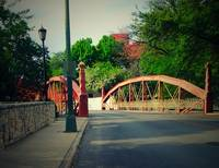 red bridge by library
